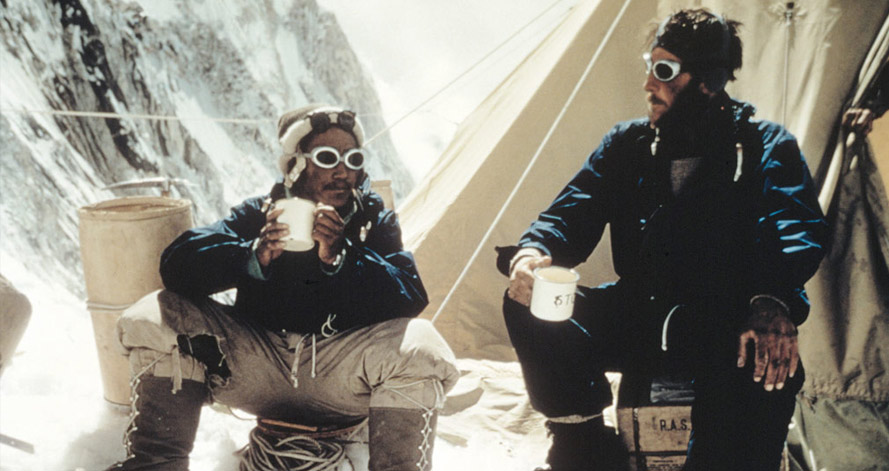 Sir Edmund Hillary and Tenzing Norgay drink tea at Camp IV